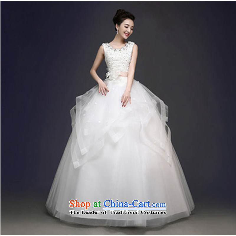 The spring and summer of 2015 new stylish Korean shoulder to align the large number of Sau San white marriages wedding dresses video thin shoulders, L