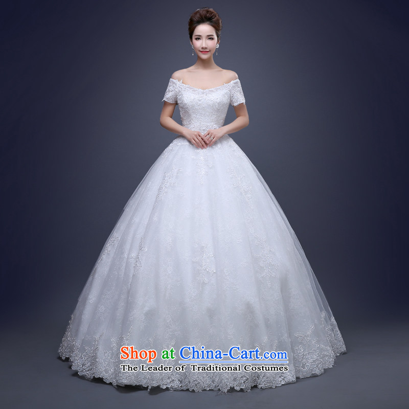 Jie Mia  White Spring and Autumn 2015 new shoulders dress video thin bon bon skirt bows Service Bridal Sau San will show the marriage white S