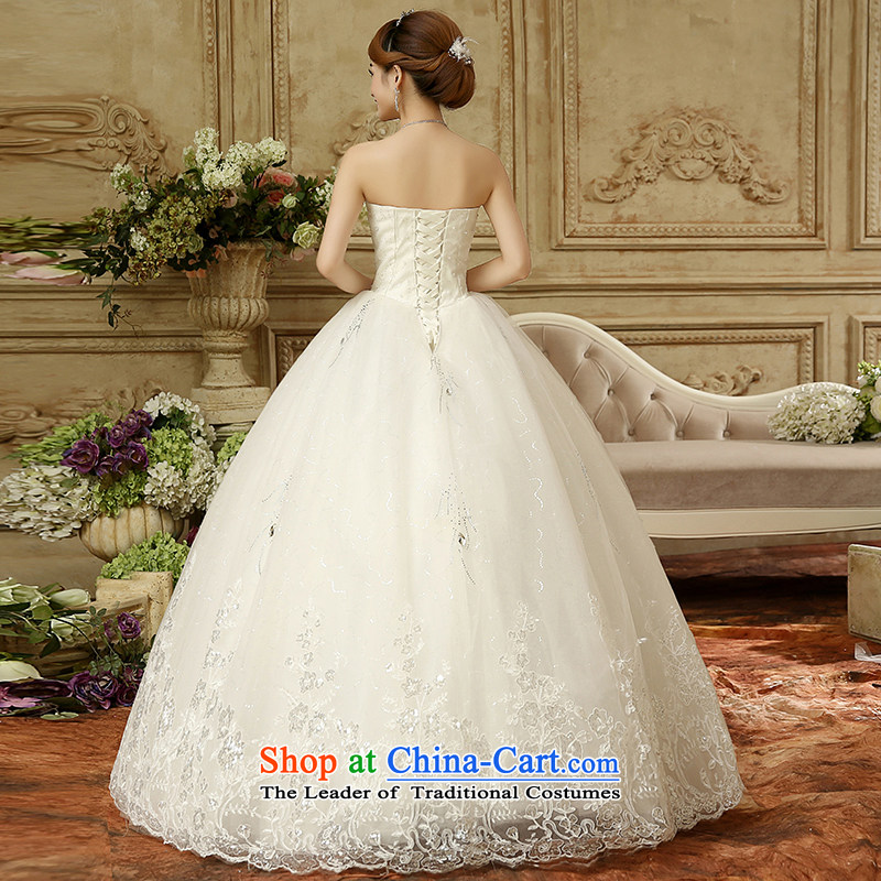 To align the wedding dresses winter_ gross shawl Korean grants stylish anointed chest straps Sau San wedding bon bon Princess Royal diamond lace White XL