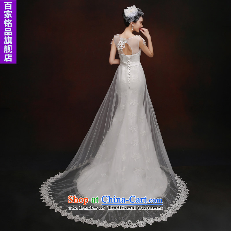 Wedding dress white wedding dresses crowsfoot?autumn 2015 new Korean word shoulder anointed chest lace diamond Sau San tail wedding white?S