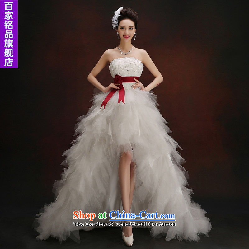 The former long after short�autumn 2015 wedding new stylish anointed chest diamond short of Sau San tie tail wedding White�XXL