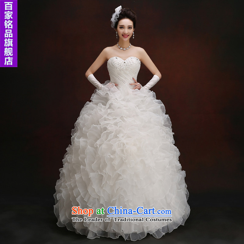Wedding dresses in the autumn 2015 new bride diamond wiping the chest straps to align the Sau San Wedding Korean large stylish white?M