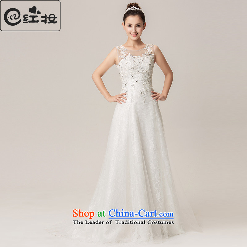 Recalling that the spring and summer of 2015, hates makeup and new wedding dresses Korean word lace shoulder to shoulder small trailing bride wedding H15049 white?S