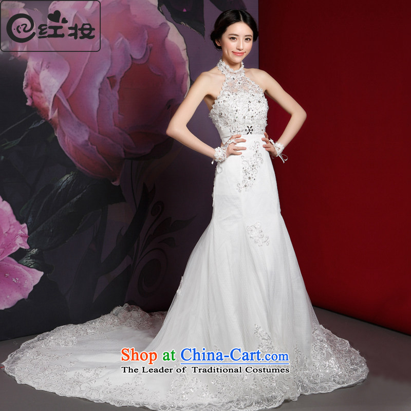 Recalling that hates makeup and wedding dresses new 2015 Korean history crowsfoot stylish hang diamond Sau San video thin elegant H14727 trailing white�L