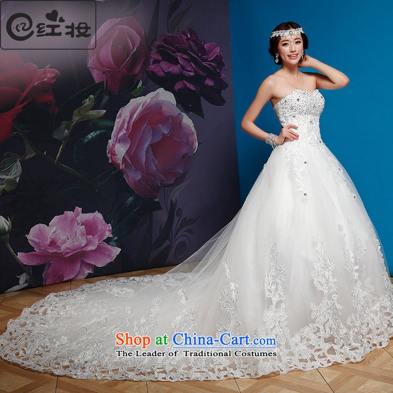 Recalling that hates makeup and wedding dresses new 2015 spring_summer long tail wedding align to lace diamond wedding H13866 wiping the chest white streak聽XL