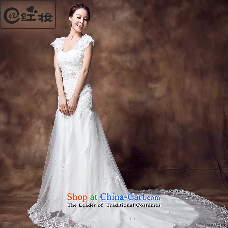 Recalling that the new makeup red lace V-Neck back one word dual shoulder sweet princess retro tail crowsfoot wedding dresses H12133 white�S