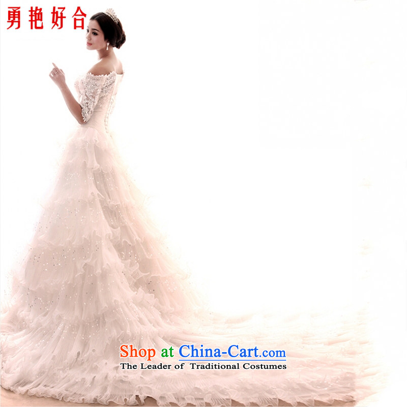 Yong-yeon and new wedding dresses Word 2015 Spring shoulder upscale lace video thin long tail Sau San diamond ornaments on chip crowsfoot wedding white streaks in the size is not a replacement for a