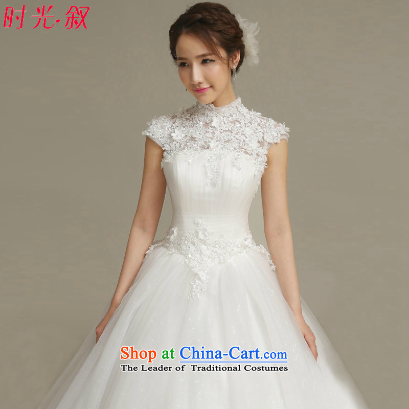 Time the聽new 2015 Syria of autumn and winter wedding dresses, Korea Edition package word shoulder shoulder white lace diamond Princess Bride to align the wedding dress white聽S