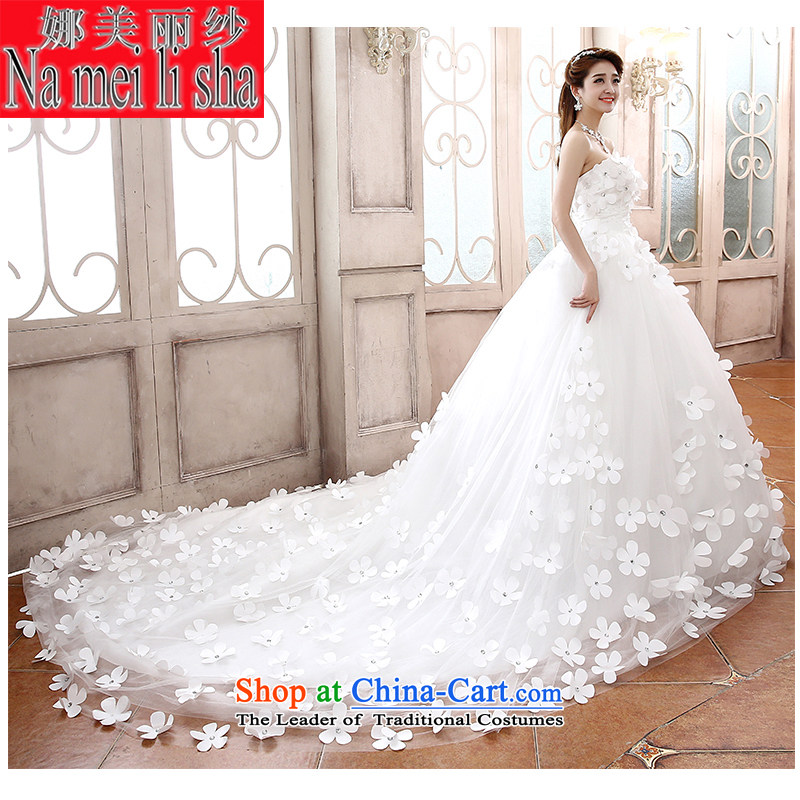 The beautiful yarn marriages 2015 new anointed Chest Flower tail wedding fashion plain manual wedding code strap Sau San video thin wedding trailing燤