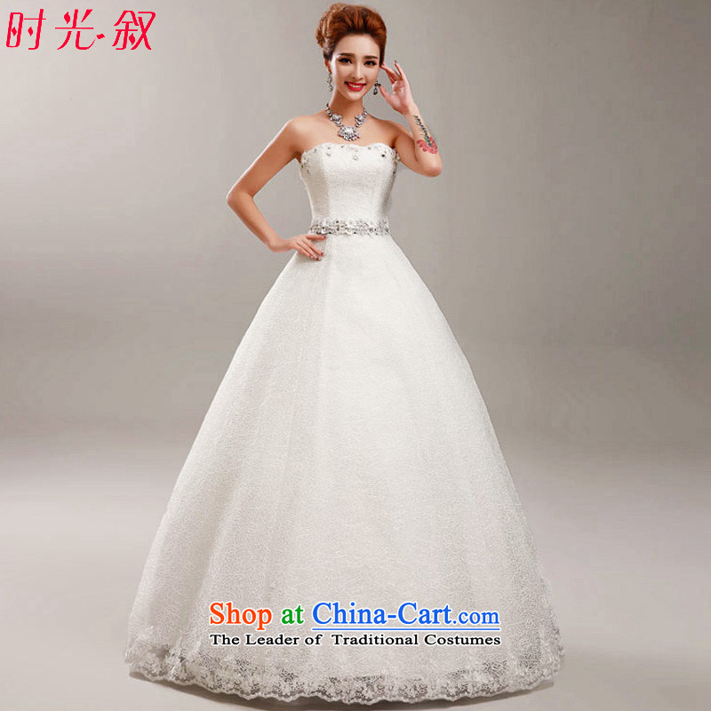 Time Syrian wedding dresses new 2015 autumn and winter flower diamond anointed chest Korean skirt AS A Princess Bride straps to align the large White XXL