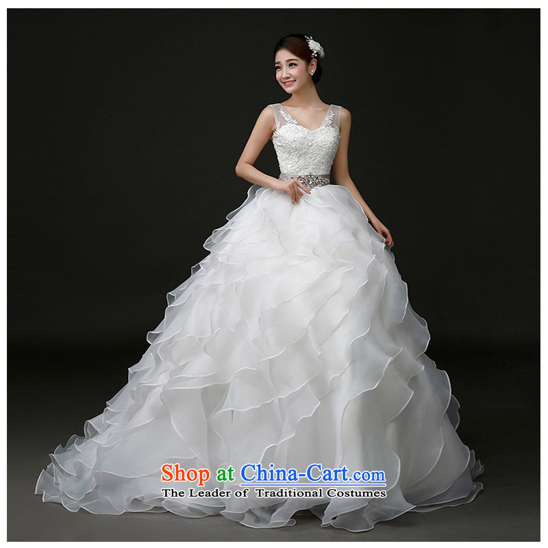 The beauty of the new 2015 shoulders a field shoulder V-Neck small trailing wedding fashion marriages photo building photography minimalist Sau San tie palace wedding white customizable