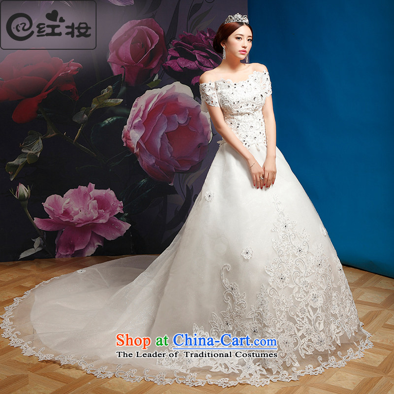 Recalling that the word hates makeup and shoulder straps tail wedding Korean diamond white long, The Princess Bride marriage wedding H13869 White?M