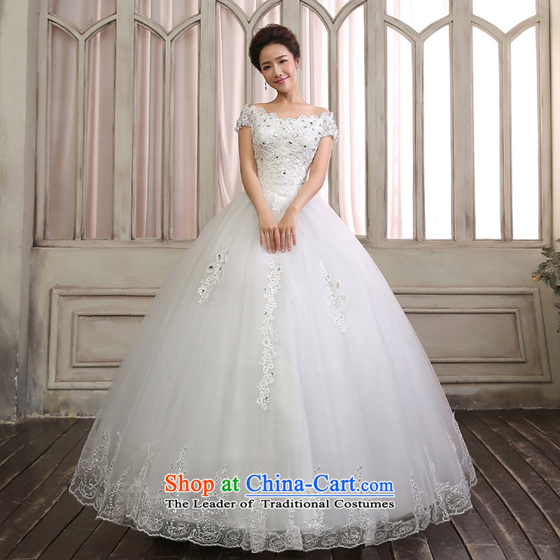 Wedding dresses new stylish Korean 2015 lace tail large word shoulder bags shoulder straps to align the bride summer video wedding pleasant thin align to the bridal lace聽XXL