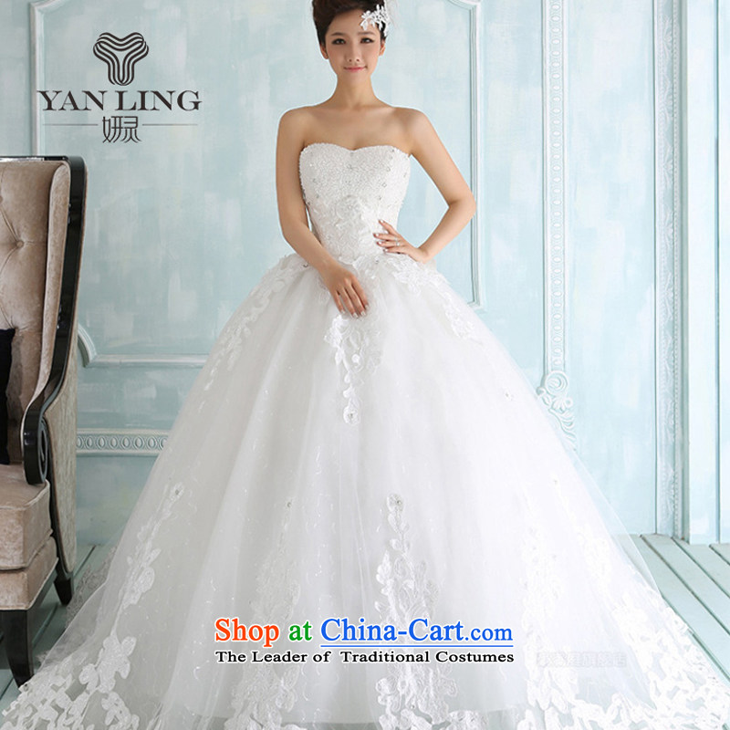 The new 2015 winter wedding dresses lace on chip and chest straps to align the Korean version of the Wedding Dress Photography subject wearing white?L