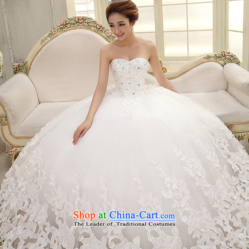 Wedding dresses new 2015 large white streaks in the Korean version of Princess Deluxe tail length and chest diamond embroidery wedding pleasant bride tail made