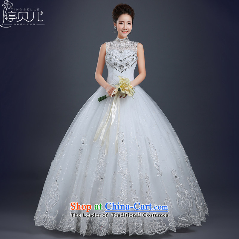 Beverly Ting wedding dresses of the new spring 2015 stylish marriages wedding summer Korean style large align to sleeveless bride wedding diamond wedding lace White?XXL