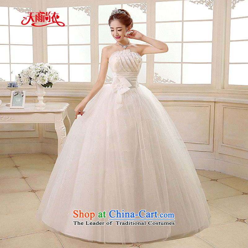 Rain-sang yi聽2015 new wedding dress white Princess Mary Magdalene chest stylish large thin nail graphics PEARL FLOWER to align the bride wedding HS890 tailored White