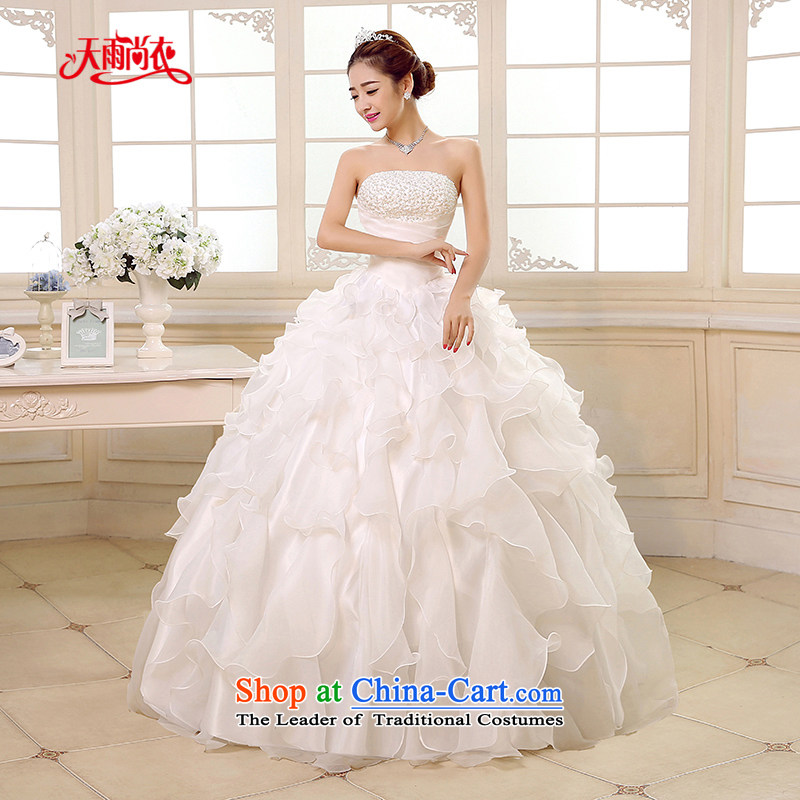 Rain-sang yi聽2015 new bride wedding dress white Princess Mary Magdalene chest stylish large thin nail Graphics alignment with the Pearl River Delta wedding HS889 tailored White