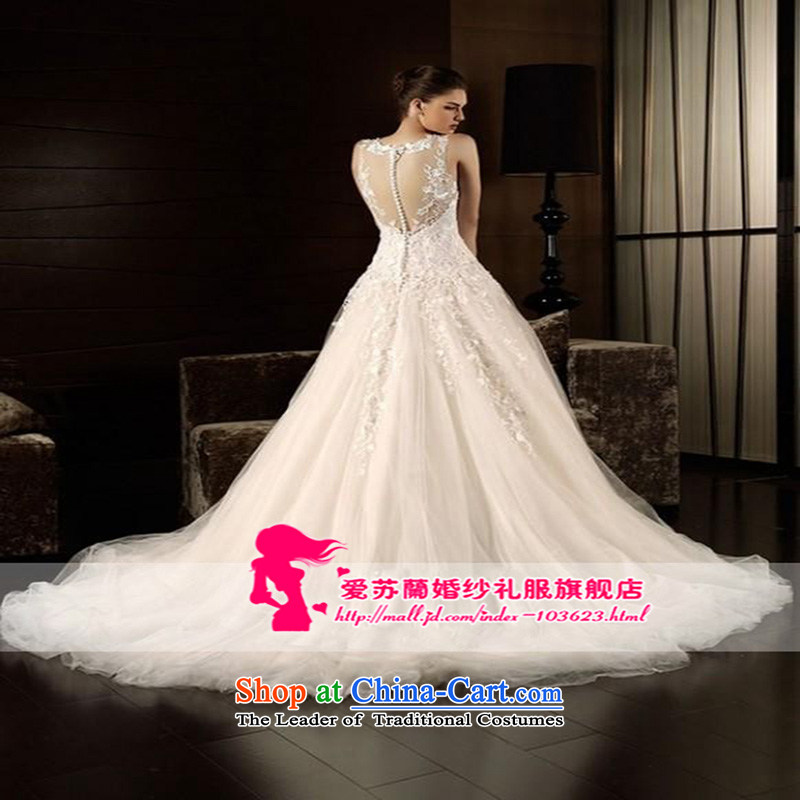 Sexy big terrace back wedding dresses engraving wedding Deluxe Big long tail elegant embroidery export trade wedding White?M quality custom