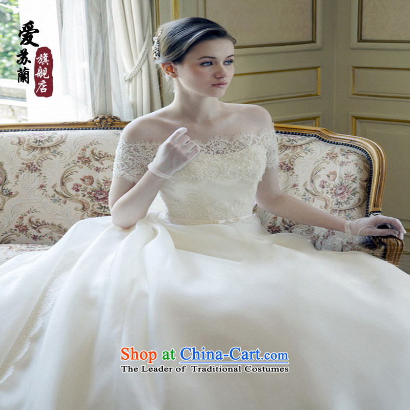 2015 new bride wedding word shoulder lace the long tail of wedding Korean Dream luxury Foreign Trade White?M