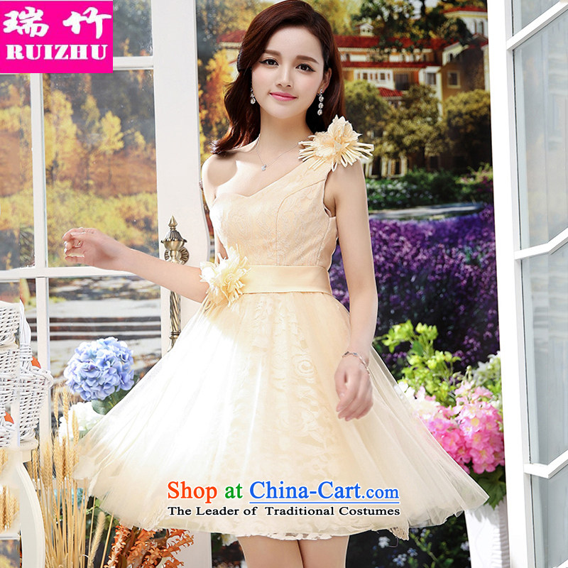 Rui Zhu 2015 spring, summer, autumn and load the new Beveled Shoulder terrace clavicle back wedding dresses Sau San tie lace the yarn bon bon skirt small annual meeting under the auspices of performances dresses apricot?XL