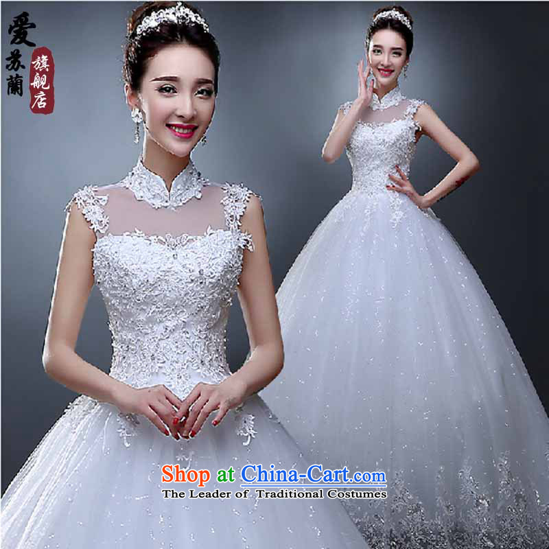 The new spring 2015 wedding stylish Korean collar package shoulder wedding dresses summer video thin straps Sau San align to lace White?XXL