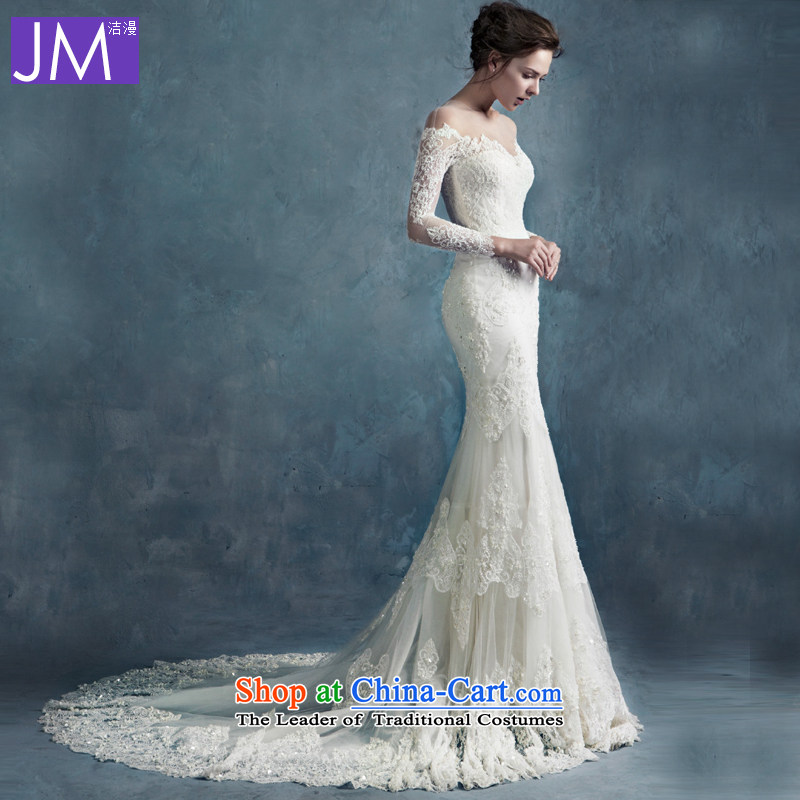 Crowsfoot wedding dresses 2015 new autumn and winter trendy first field shoulder lace Sau San long-sleeved package and Foutune of small trailing white L  strap_