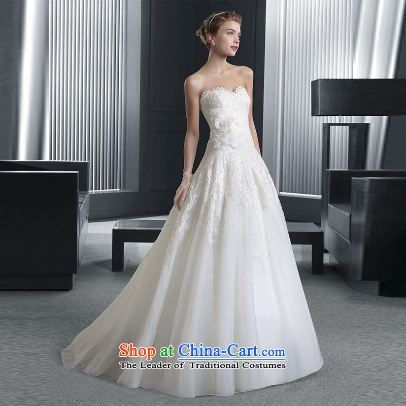 The word anointed chest brides shoulder wedding dress of autumn and winter 2015 new minimalist A field with lace Sau San small trailing wiping the Chest) S