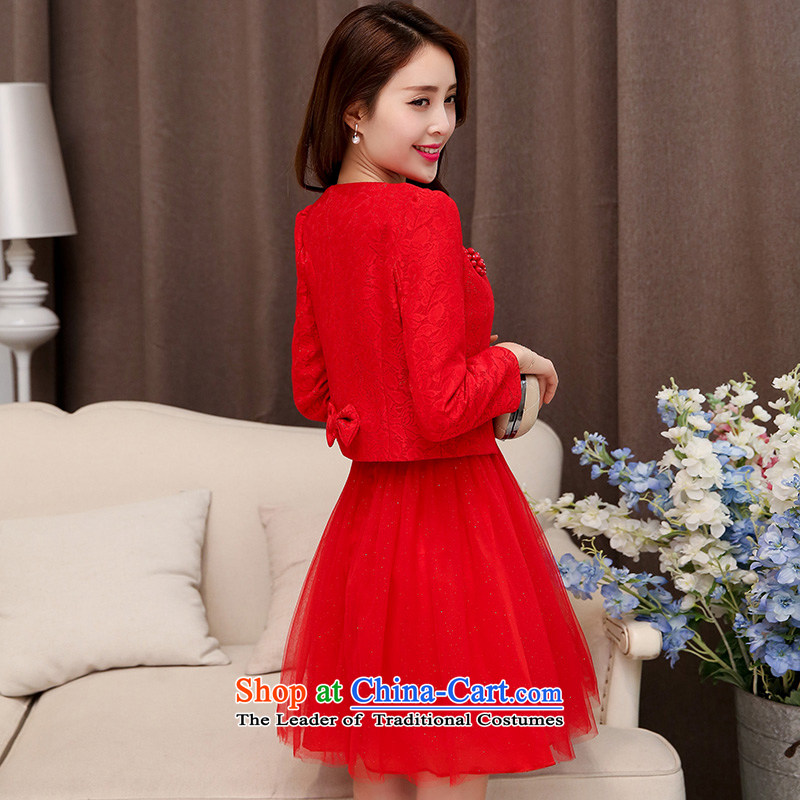 Dream Is marriages bows services for pregnant women wedding dress 2015 new short, red autumn bridesmaid service banquet red�XXL