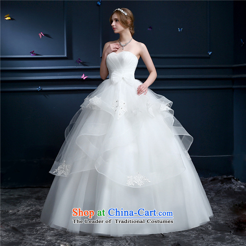 (Heung-lun's Health 2015 wedding new spring and summer Korean anointed chest wedding code to align with the bride wedding dress girl did not rule petticoats White?M