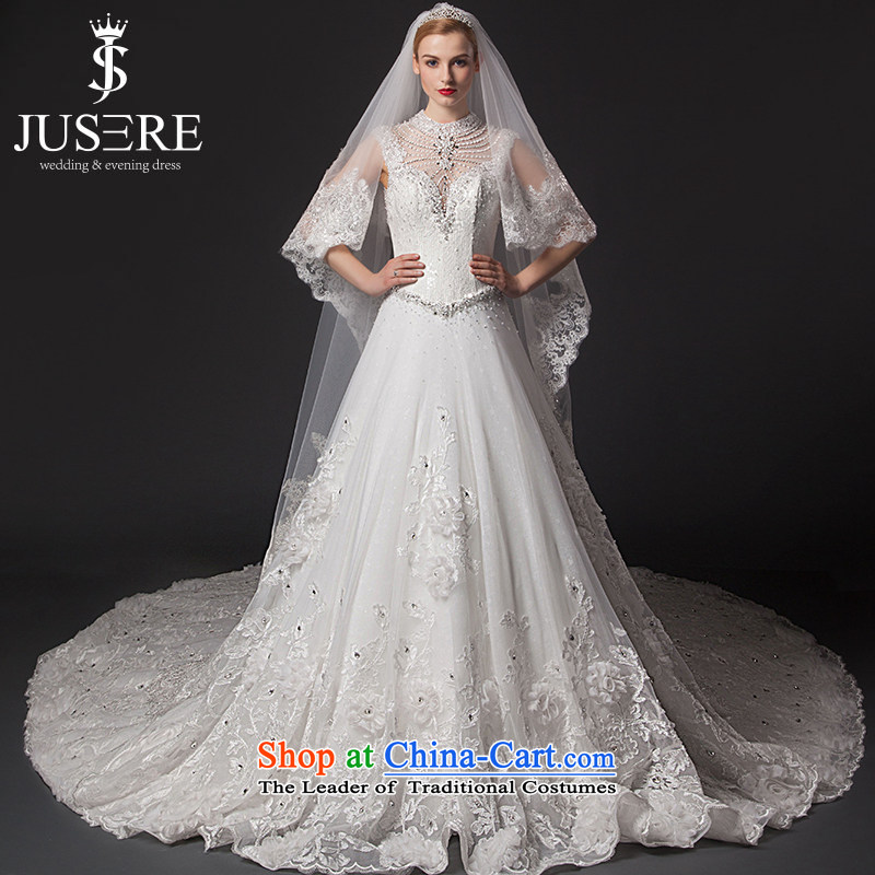 There is a�new 2015 glistening snow wedding dresses engraving package shoulder round-neck collar large tail white tailored