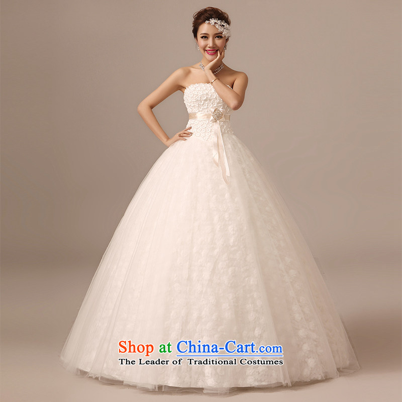The spring and summer of 2015 new stylish Chest Flower to align the anointed wedding dresses Asian layout sweet straps, video thin white Sau San S