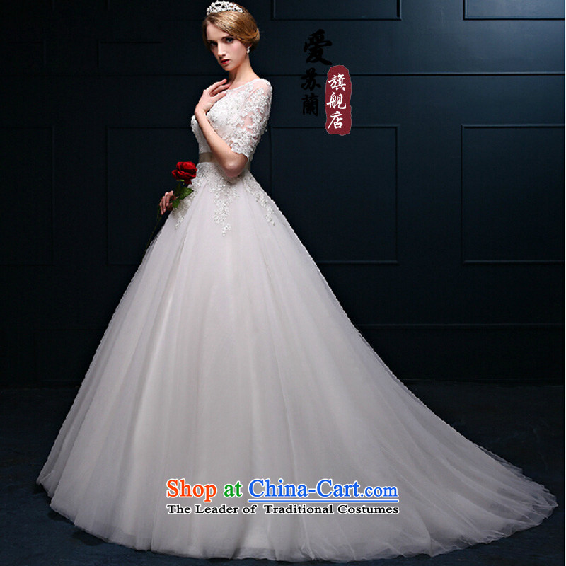The first field shoulder tail graphics thin wedding dresses new spring and summer bride wedding video thin shoulders back simple bride wedding聽XXXL White