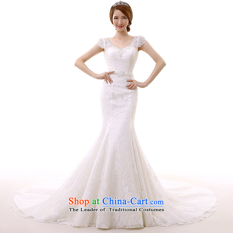 In spring and summer 2015 new word shoulder crowsfoot wedding dresses long tail shoulders V-Neck Sau San lace trailing white?M Maximum