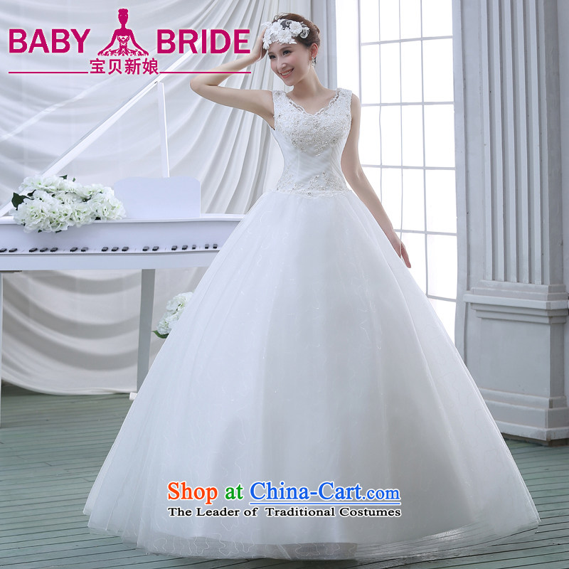 Wedding dresses spring 2015 new lace shoulders of diamond ornaments deluxe to align the wedding White聽XXL