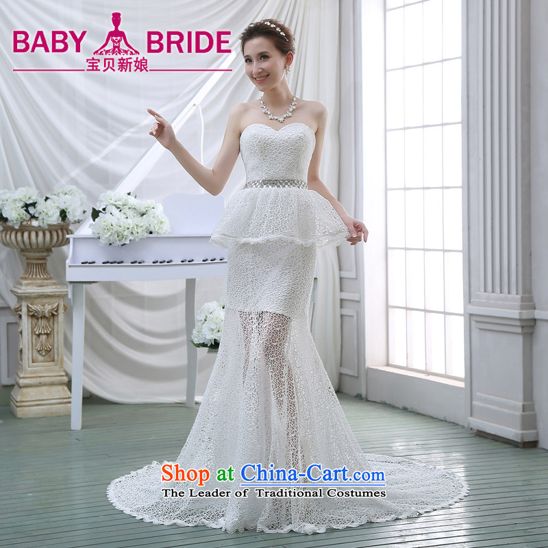 Wedding dresses new 2015 luxury lace collar engraving tail Foutune of video thin crowsfoot retro wedding white?S