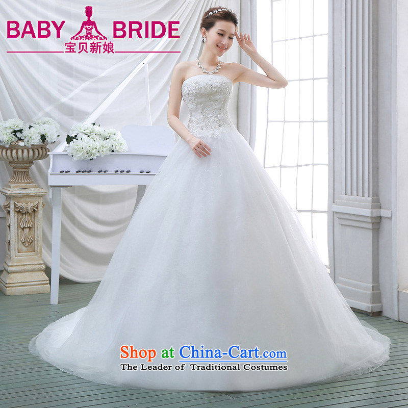 Wedding dresses new 2015 Spring tail bride anointed chest video thin Korean wedding tail lace White聽XL