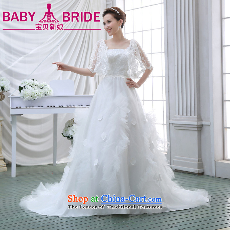 Wedding dress 2015 NEW Summer Wedding wedding lace stylish Korean long tail of the word wedding shoulder white L
