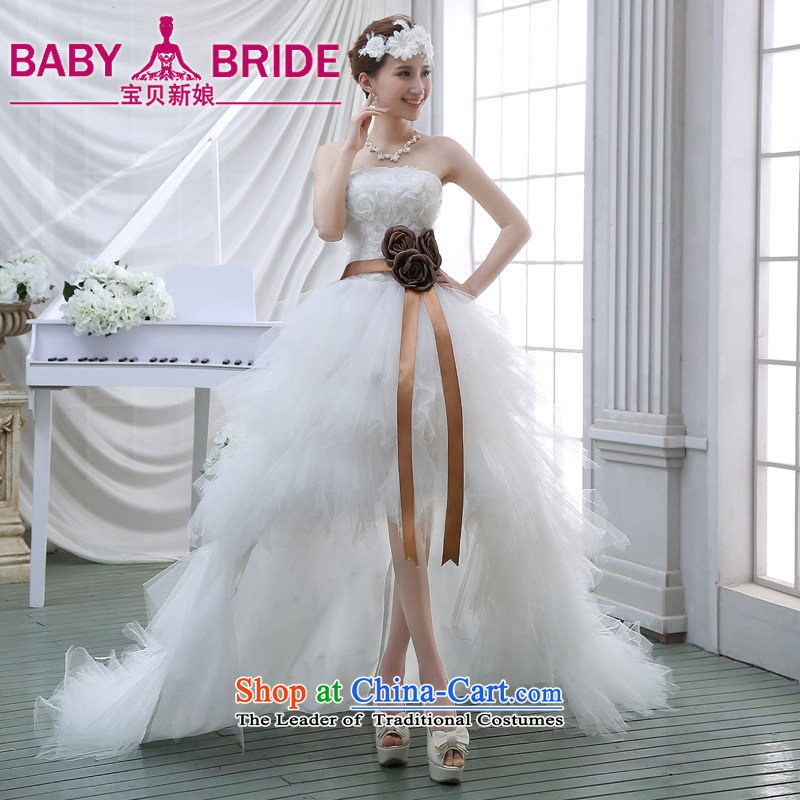 2015 Spring new upscale front stub long after wedding feather wedding wiping the chest small trailing marriages short of tail WhiteXL