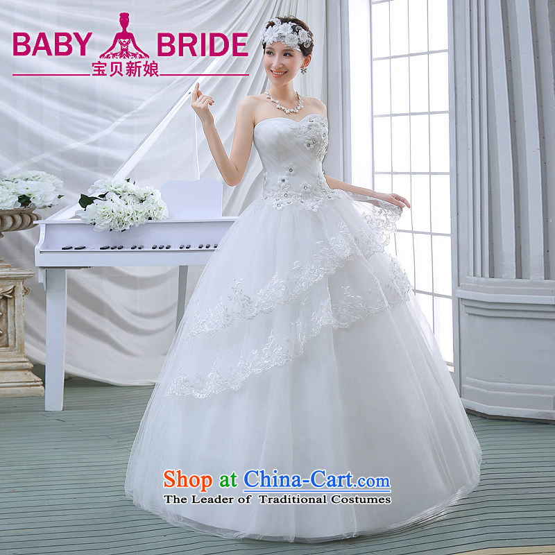 2015 Spring/Summer wedding dresses new lace Sau San video thin alignment with chest-Korean Bridal Suite White S
