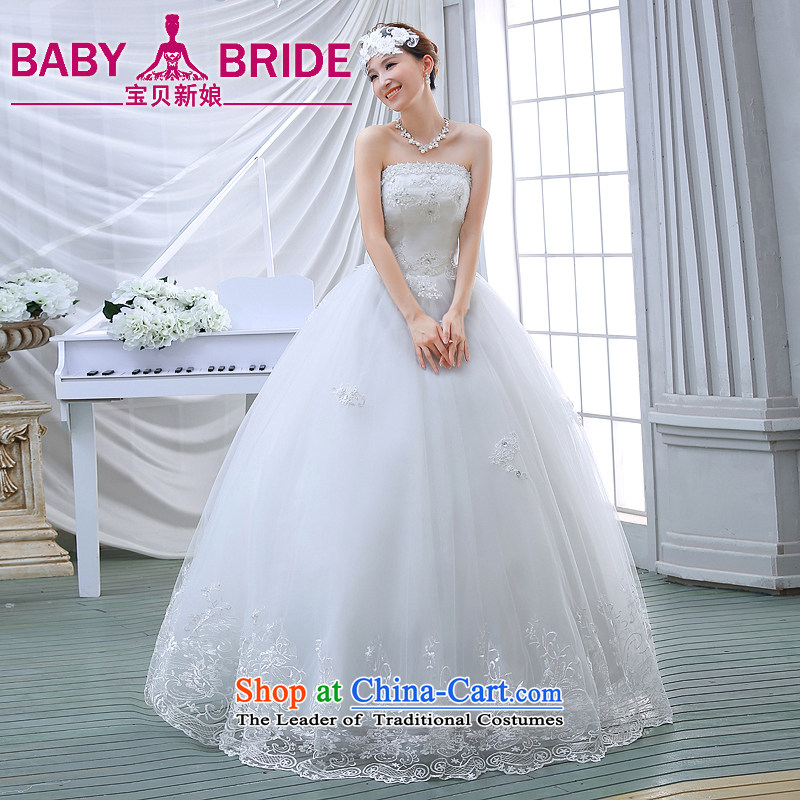 Wedding dresses spring 2015 the new Korean brides to align the princess lace bon bon light drill video thin wiping the chest wedding White聽M