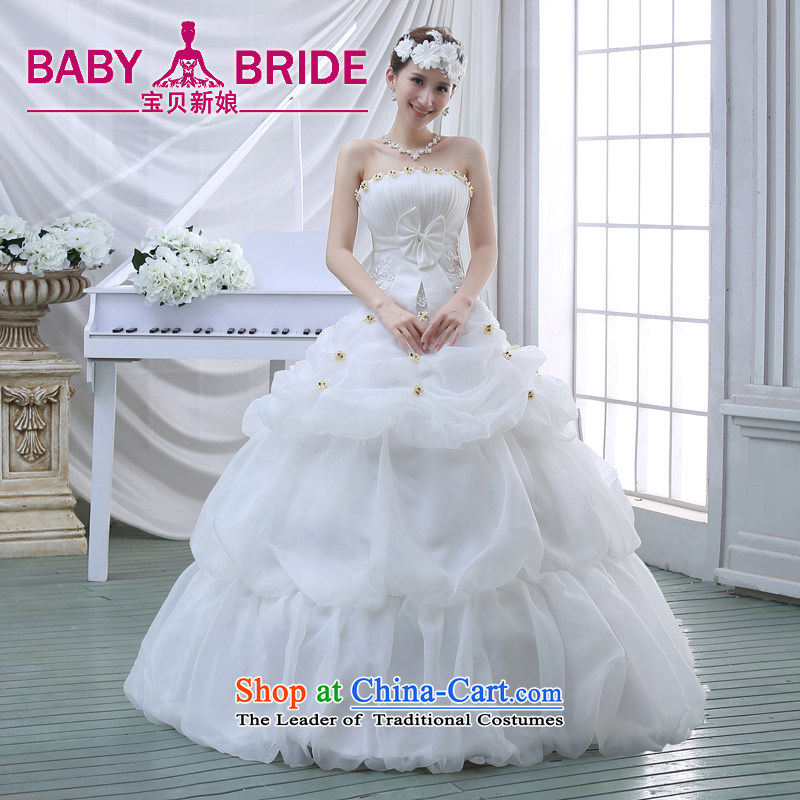 The new 2015 Spring/Summer wedding dresses Korean fashion lace wiping the chest to marry her thin wedding video   white?S