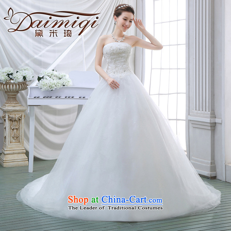 Wedding dresses new 2015 Spring tail bride anointed chest video thin Korean wedding tail lace White聽XXL