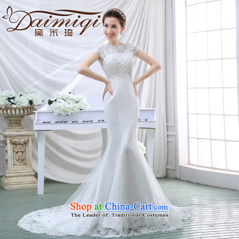 Wedding dresses 2015 Spring New Word shoulder crowsfoot wedding small trailing Korean Foutune of Hamor Sau San chest wedding summer White?XXL