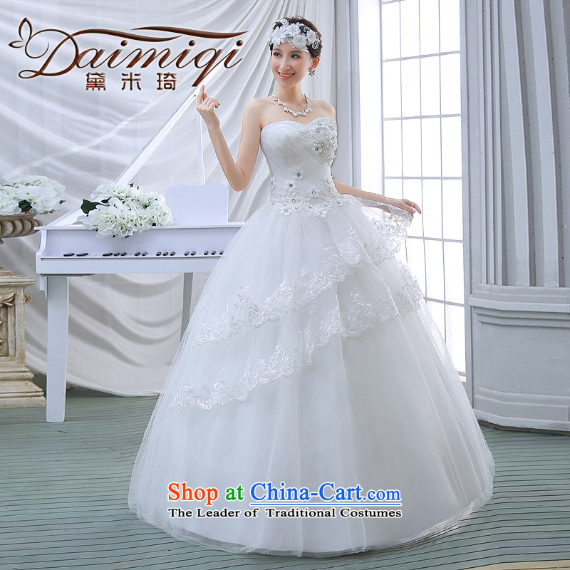 2015 Spring/Summer wedding dresses new lace Sau San video thin alignment with chest-Korean Bridal Suite White�XL