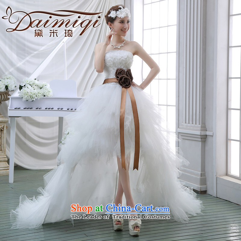 2015 Spring new upscale front stub long after wedding feather wedding wiping the chest small trailing marriages short of tail white�S