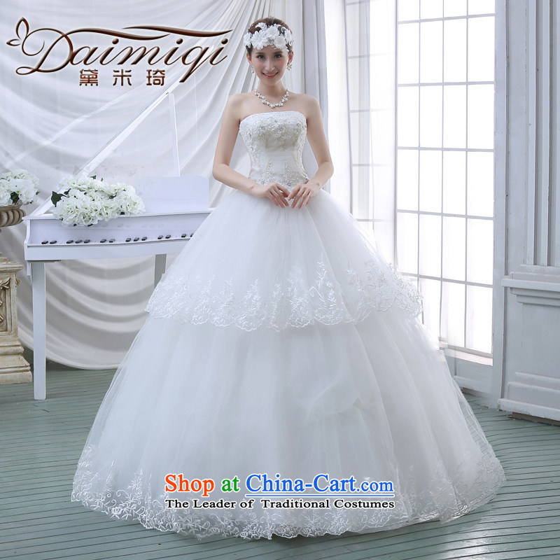 2015 Spring New wedding dresses flowers lace retro straps Korean Princess Mary Magdalene chest with sweet wedding white?L