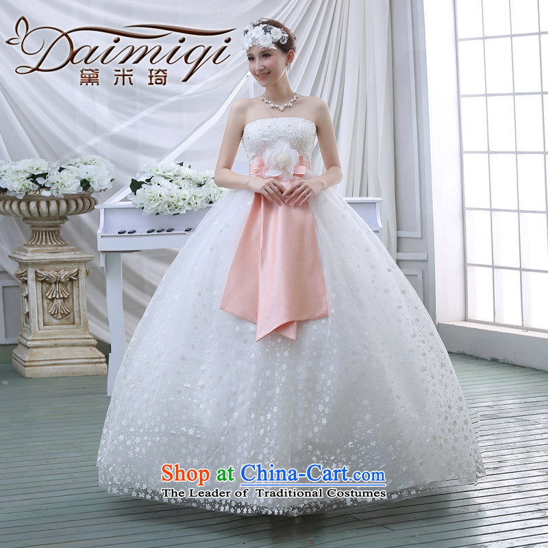 The new 2015 spring to align graphics thin wedding dresses retro lace wiping the chest straps spring V white wedding White�XL