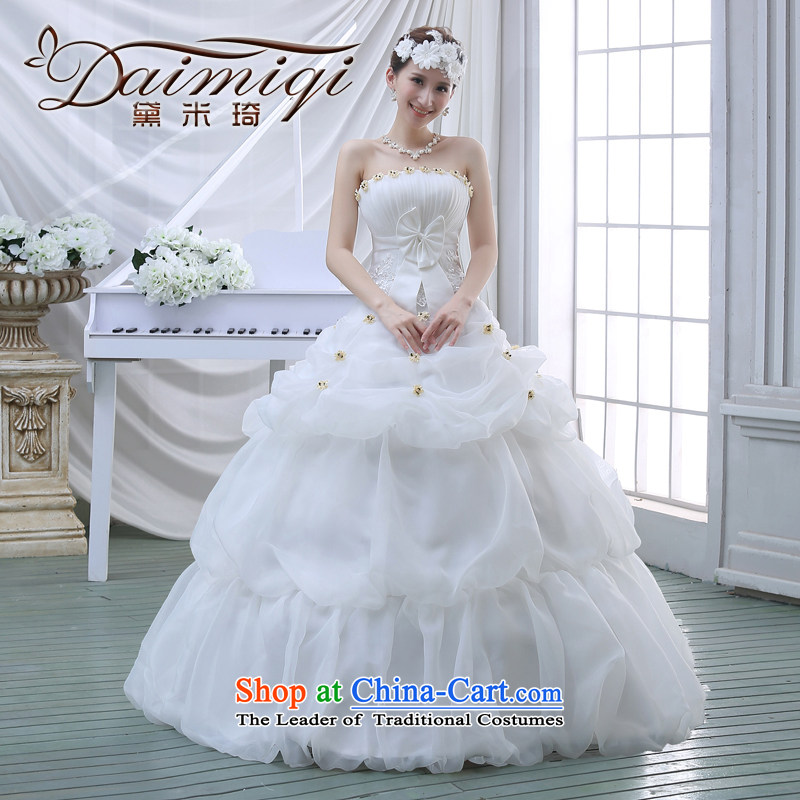 The new 2015 Spring/Summer wedding dresses Korean fashion lace wiping the chest to marry her thin wedding video   white?L