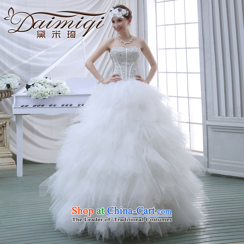 2015 new large tail and chest Korean water drilling bon bon Skirts 7 bride wedding dresses White?XL